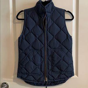Jcrew factory navy gold zip vest XXS